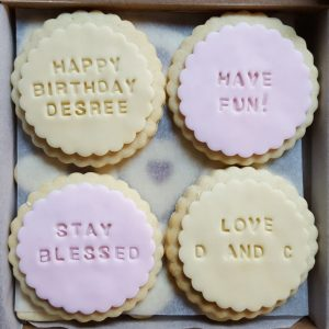 Bespoke Biscuits iced with special messages