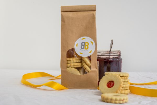 Bagged up Jam Sandwich biscuits