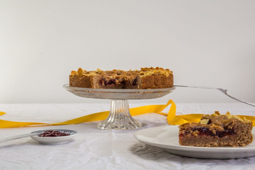 Linzer torte on cake stand