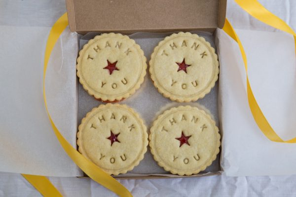 Bespoke box of engraved Thank You biscuits