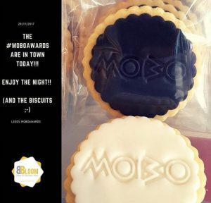 Logo Biscuits made for Mobo Awards 2017 by Bloom Bakers