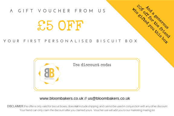 Bloom Bakers Discount voucher for personalised biscuit boxes