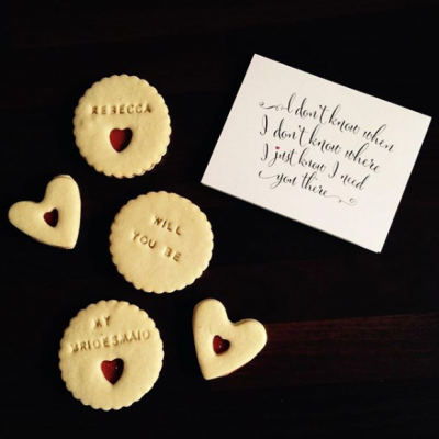 Heart and round shaped personalised biscuits by Bloom Bakers