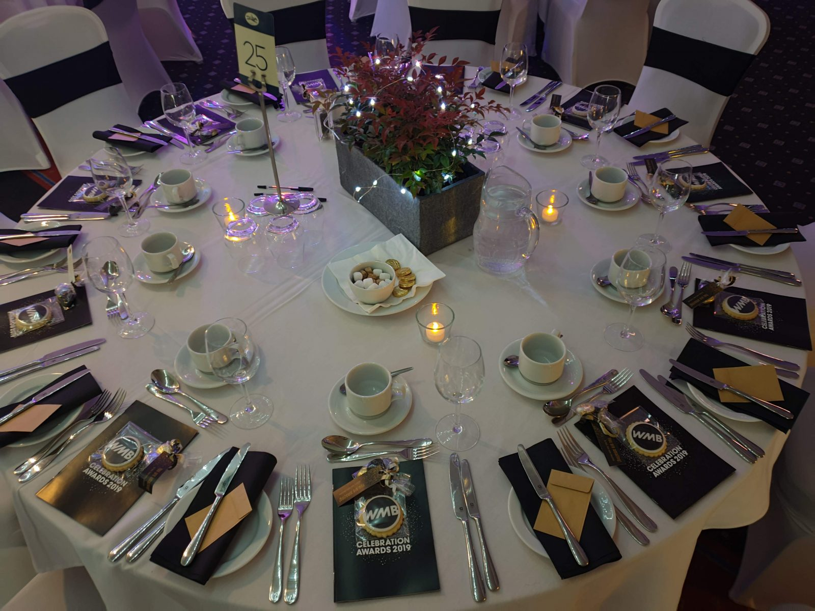 Women mean business award table setting with BLoom Bakers biscuits