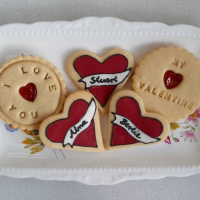 Valentines Day hand iced name biscuits