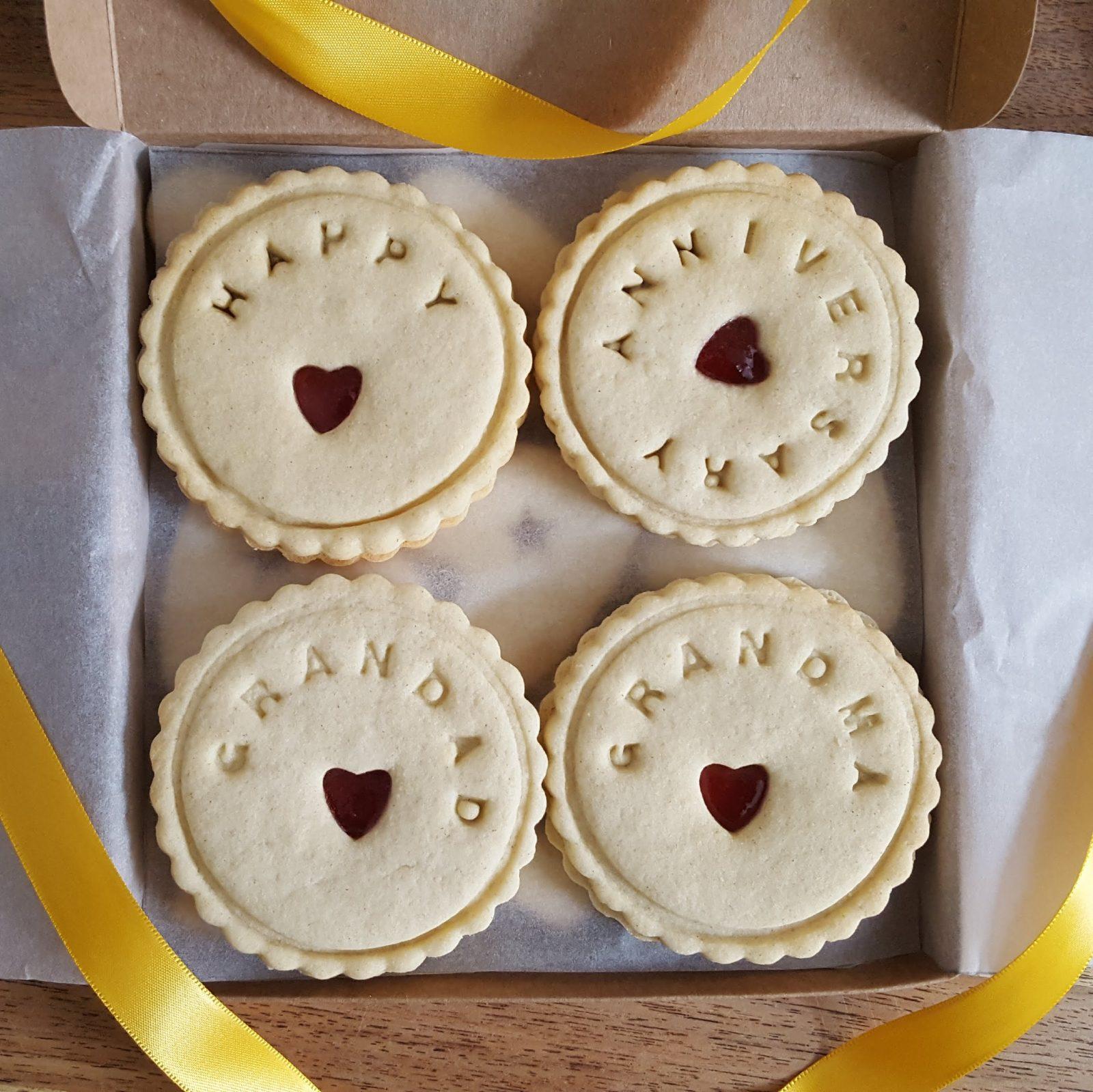 Happy anniversary jam sandwich message biscuits