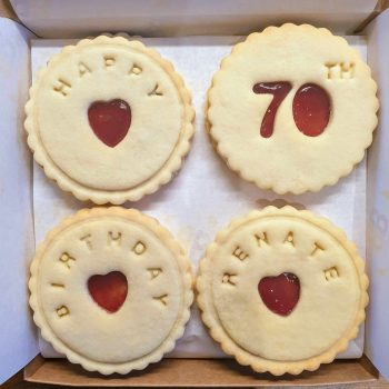 Happy 70th birthday biscuits Bloom Bakers