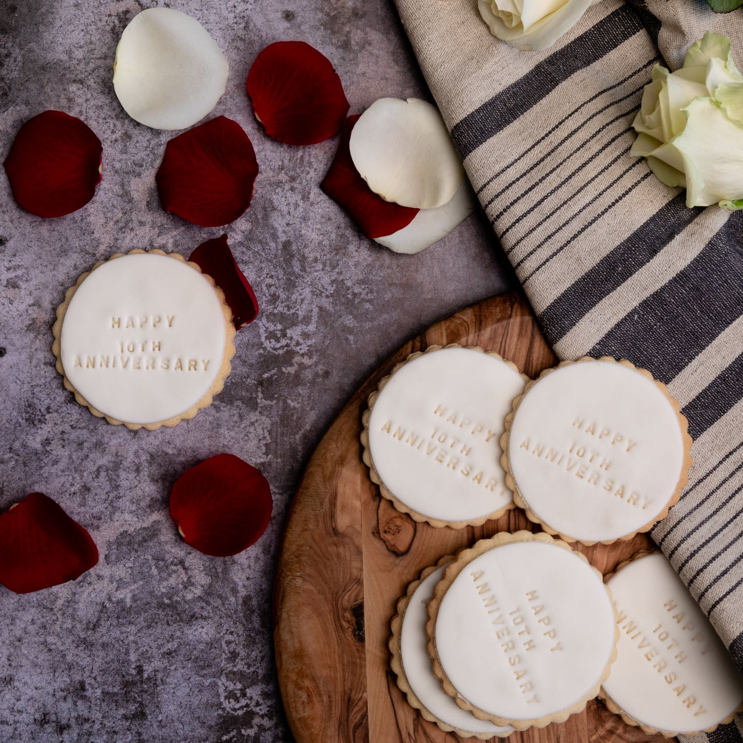 iced anniversary biscuits