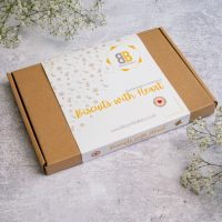 biscuits with heart jam biscuit box by Bloom Bakers