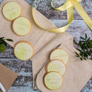 Iced congratulations biscuits
