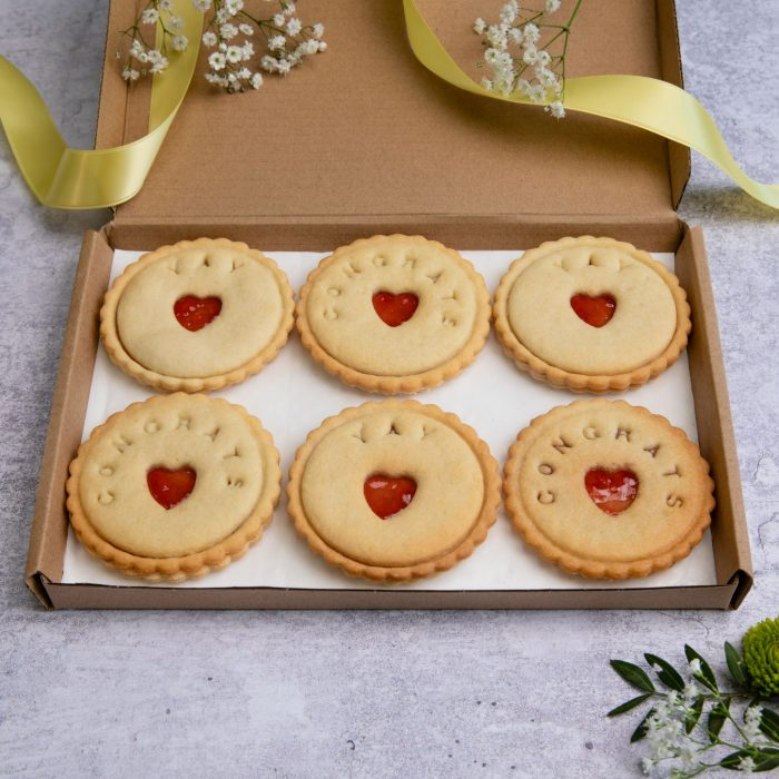 Congratulations biscuits in letterbox friendly packaging