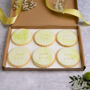 iced good luck biscuits in letterbox friendly packaging