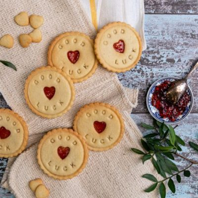 Good luck jam biscuits from Bloom Bakers