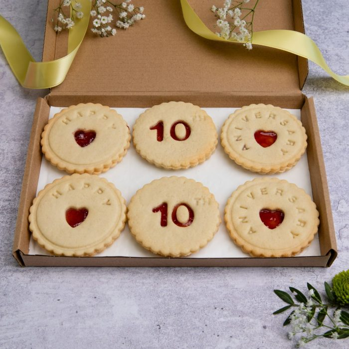Anniversary biscuits in a letterbox friendly gift box