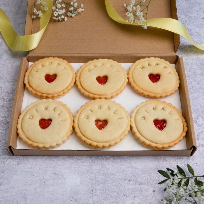 Diwali biscuits in letterbox friendly gift packaging