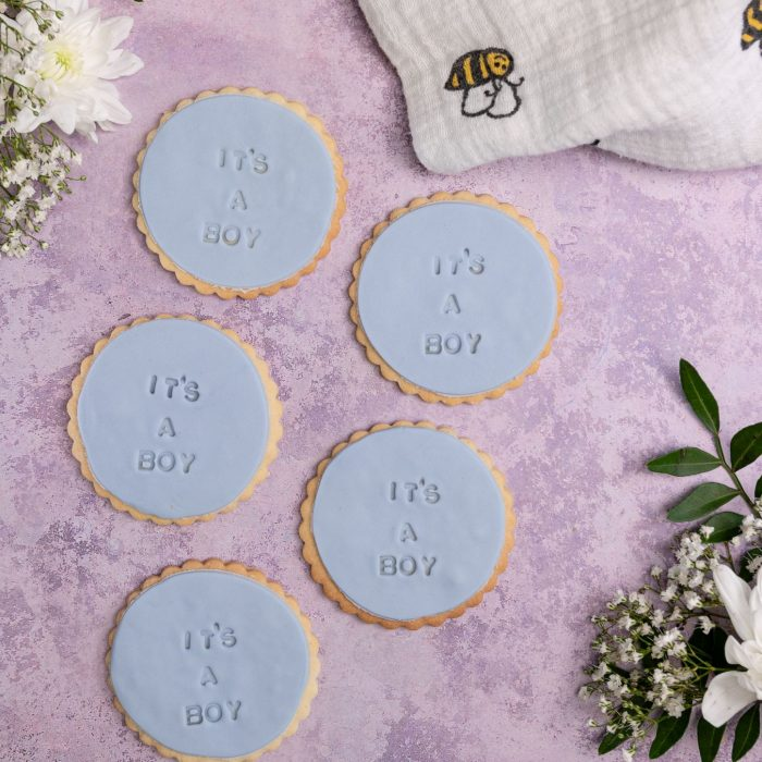 Iced gender reveal biscuits