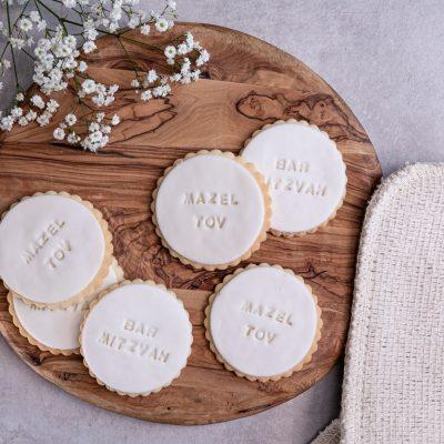 Mazel Tov fondant biscuits square