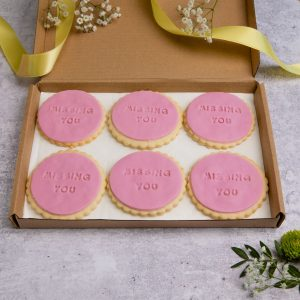 iced miss you biscuits in letterbox friendly packaging
