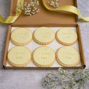 iced thank you biscuits by bloom bakers