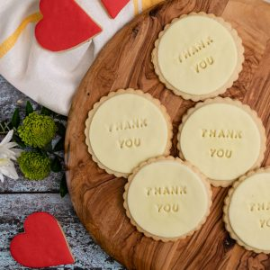 iced thank you biscuits