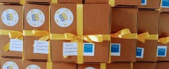 Stacked biscuit boxes for Bupa order