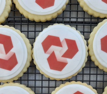 Natwest Logo biscuits bakes by Bloom Bakers